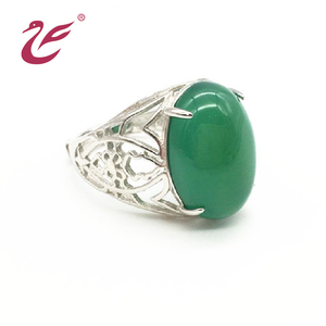 Best selling 925 sterling silver jade ring settings large stone ring designs for men