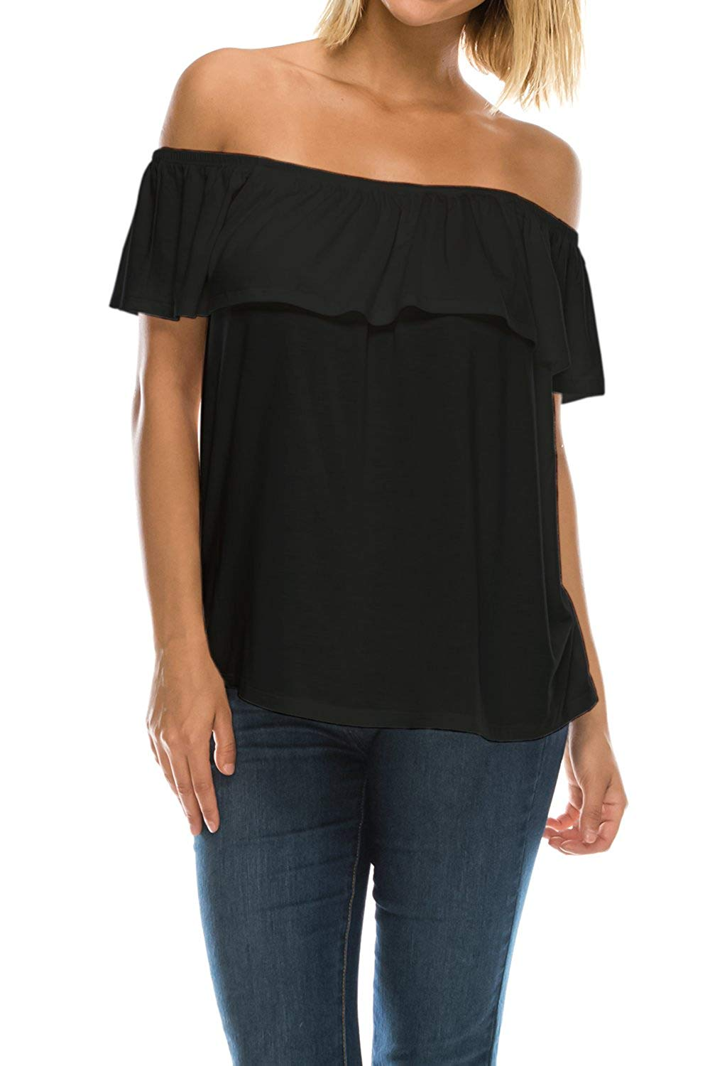 91ee1d18e6feb Get Quotations · Womens On Off Shoulder Ruffle Neck Flowy Blouse Top Made  in USA