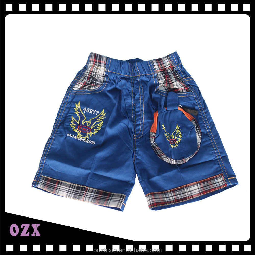 Boys blue shorts with two pockets man pants baby bloomers wholesale