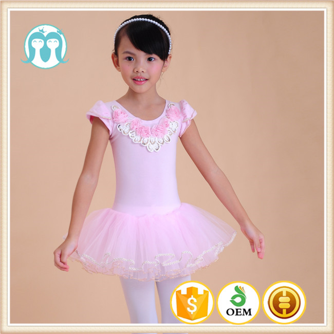 Primary Student Dancing Dresses, Princess Sweet Pink Dress for Dancing Class, Kids Fluffy Dress With Factory Price