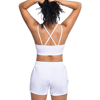 Women Fitness Running Gym Sports Reflective Yoga Shorts Set and Sleeveless Top