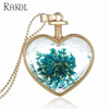 RAKOL Blue Resin Real Pressed Dry Flower Pendant Necklace New Design Amazon Gypsophila Heart Shape Necklace FN023