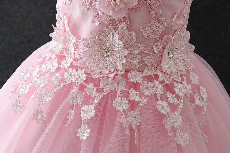 Beautiful Flower Girl Dresses Vietnam Pink Angel Baby Girls Birthday Party Dress Puffy Ball Gown Wedding