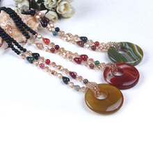Multi Color Big Round Semiprecious Stone Pendant Sweater Necklace