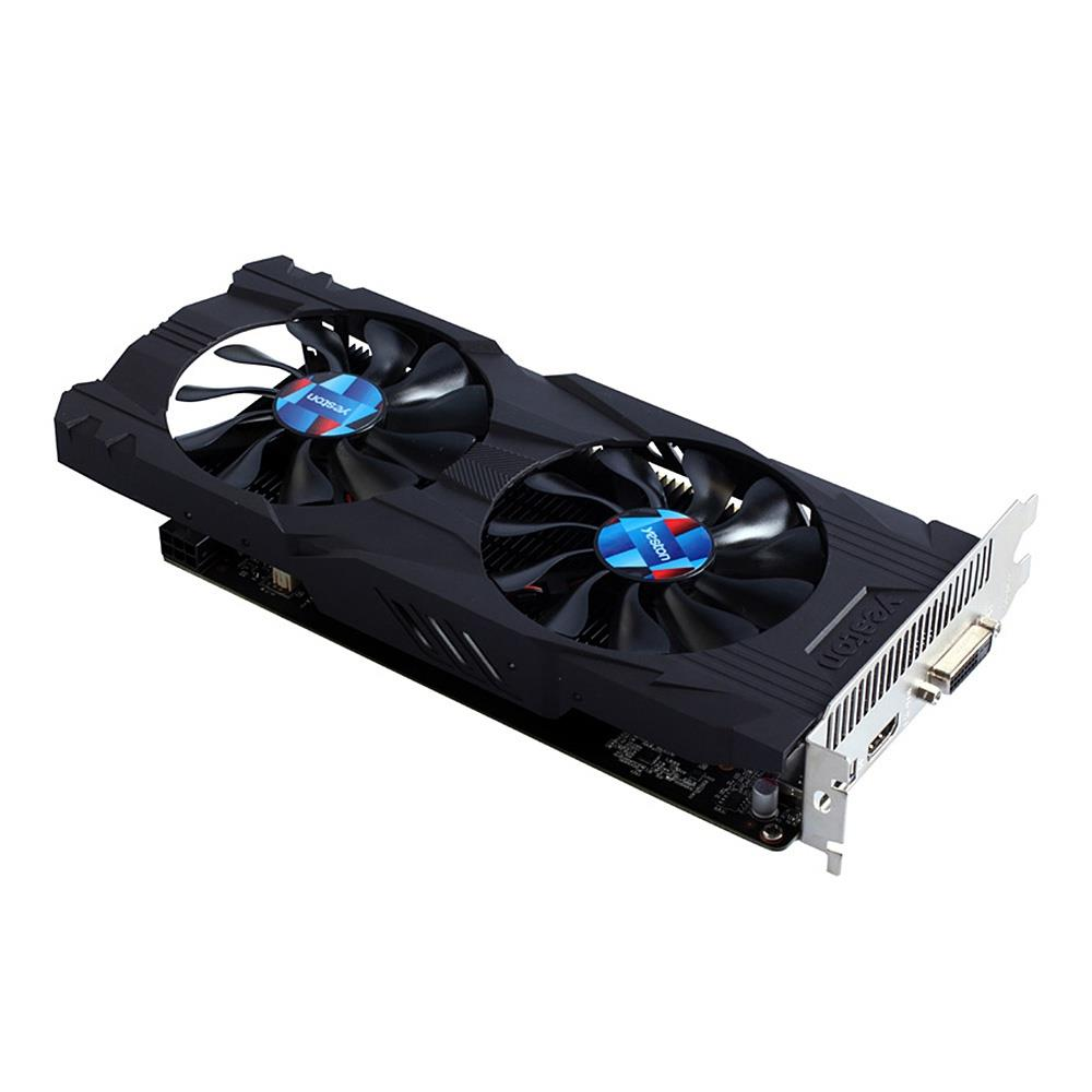 High quality Yeston GTX1050Ti 4G DDR5 7008MHz 128bit Gaming Graphics Card Double fan With HDDVI DP , Video Card - Black
