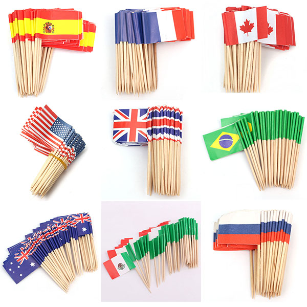 all country 10cm food burger paper flags for decoration