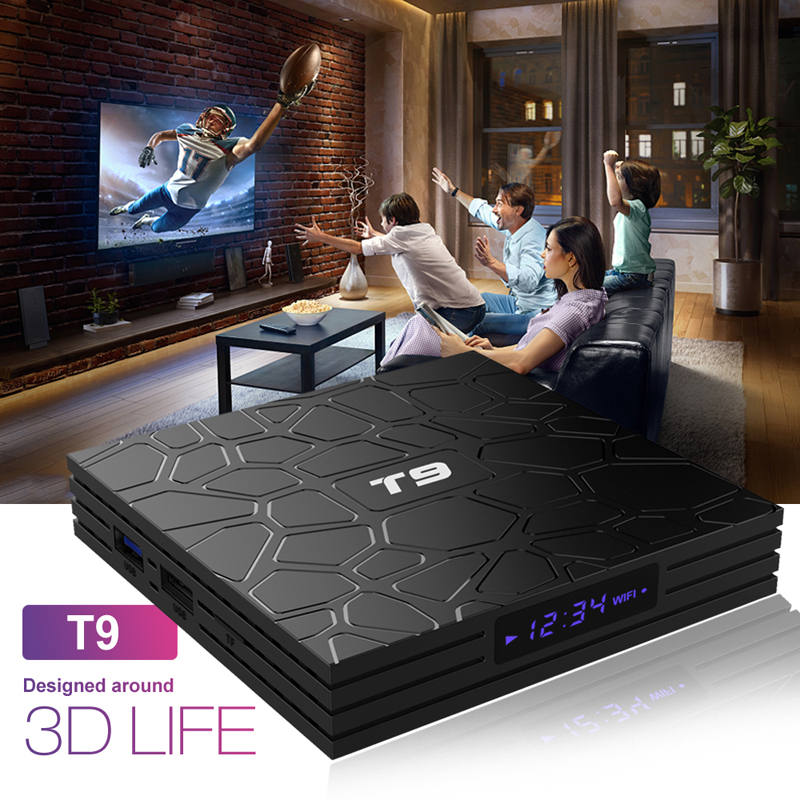 Most Popular t9 4gb 32gb Internet TV android 8.1 iptv tv box android rk3328 4k ott tv box