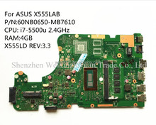 For ASUS X555LAB Laptop Motherboard Mainboard 60NB0650-MB7610 i7-5500u 2.4GHz X555LD REV:3.3 100% tested
