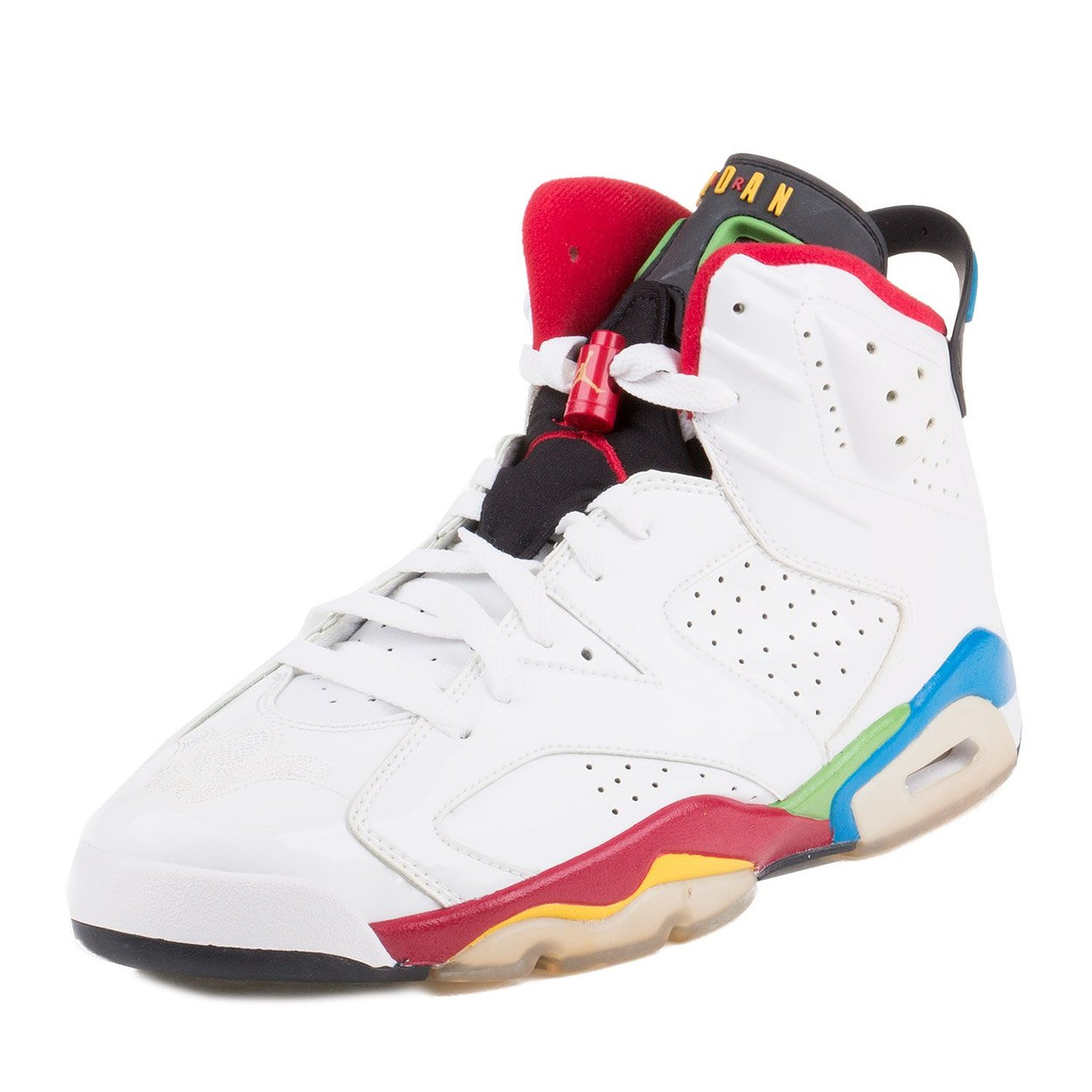 a0fe924752e5 Nike Mens Jordan Olympic 6 White Varsity Red-Green-Blue Leather Basketball  Shoes