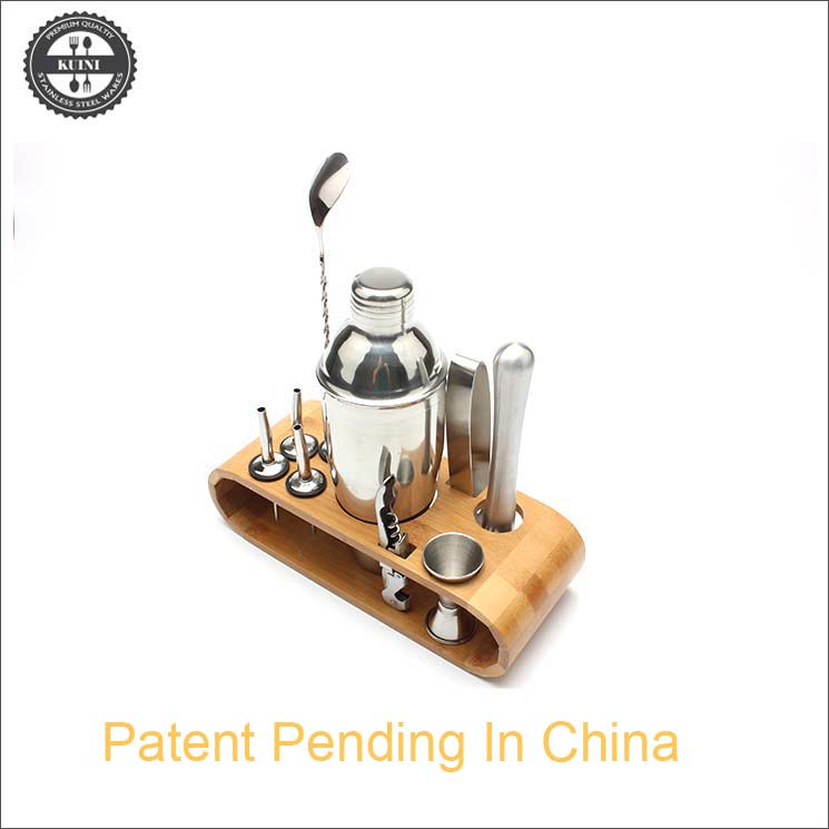 12 Piece Cocktail Shaker Set Bartender Kit With Bamboo Stand