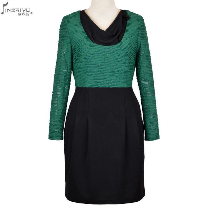 7048bcf48e7a Get Quotations · women clothes 2015 spring elegant middle age green dress  shirt long sleeve bow collar knee length