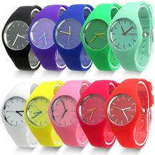 Free Shipping 2014 Fashion Super Soft Geneva Womens Jelly Silicone Sports Watch Students Watch