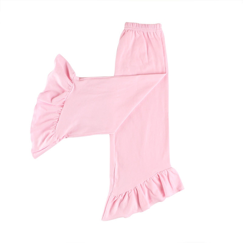 Custom high quality children clothing cotton fabric sweet baby clothes pink ruffle baby pants