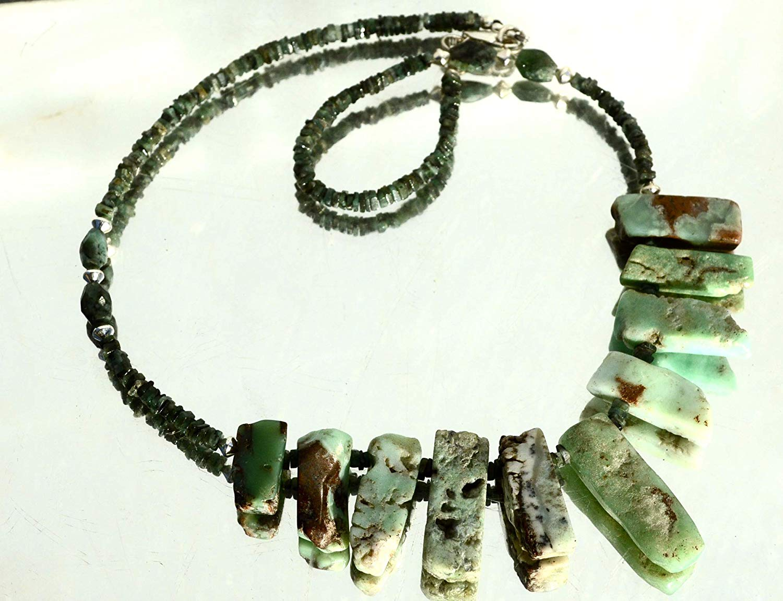 Karen Hill Tribe Fine Silver .999 Genuine Emerald Gemstone Chrysoprase Solid sterling Silver 925 .925 Bali Beads Goddess Necklace, Bohemian Tribal, Hill Tribe,Southwestern