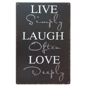 Live Simply Laugh Often Love Deeply Metal Wall Art Decor - Buy Art ...