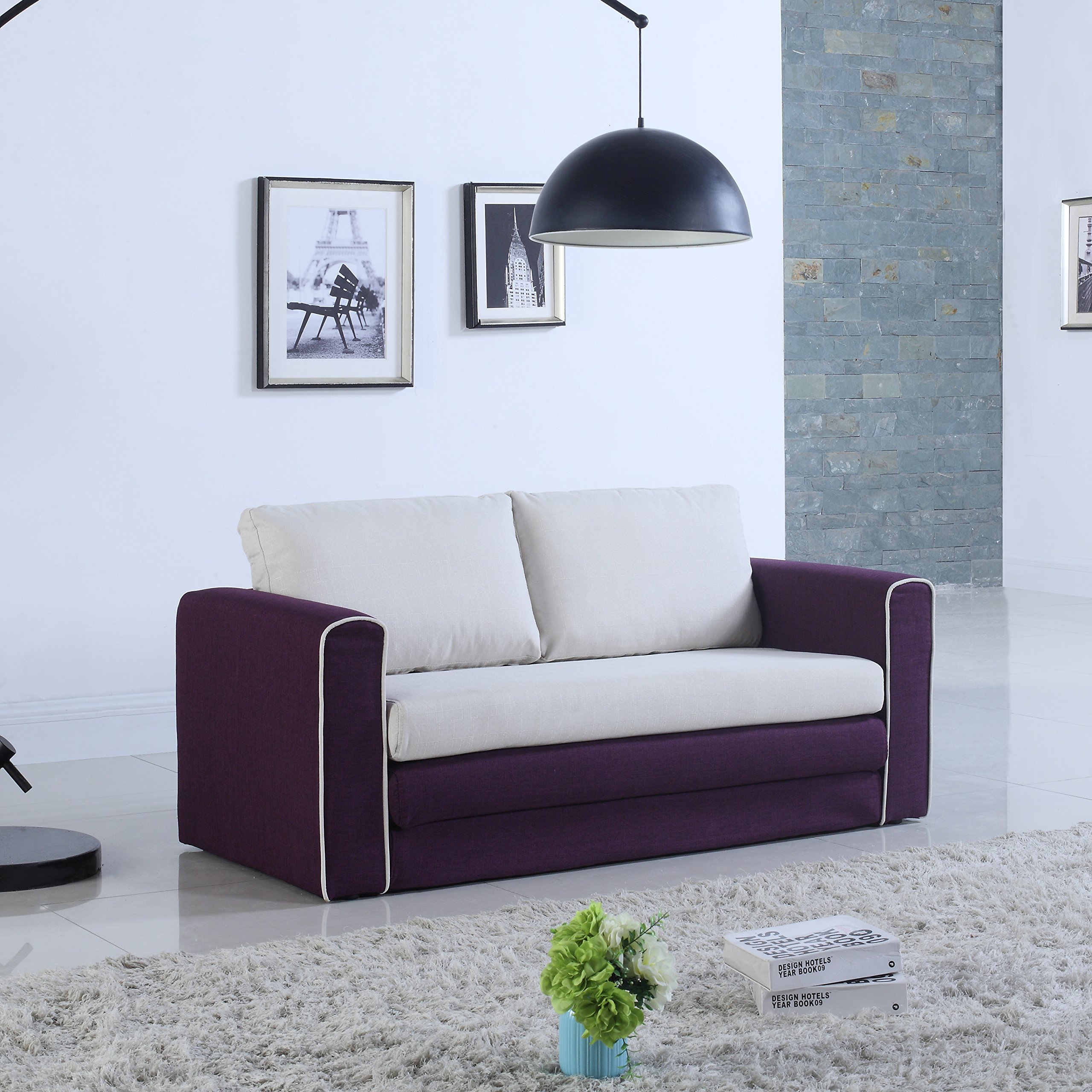 Get quotations · divano roma furniture modern 2 tone modular convertible sleeper purple beige