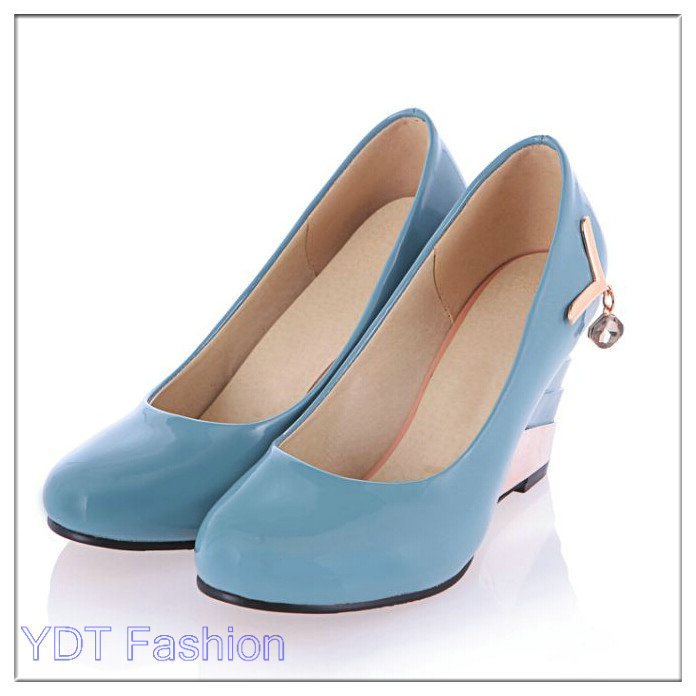 2015 Fashion Style Spring Fashion Womens Shoes Casual Patent Leather Pumps Office Wedge High Heels Work Shoes To Dress P99