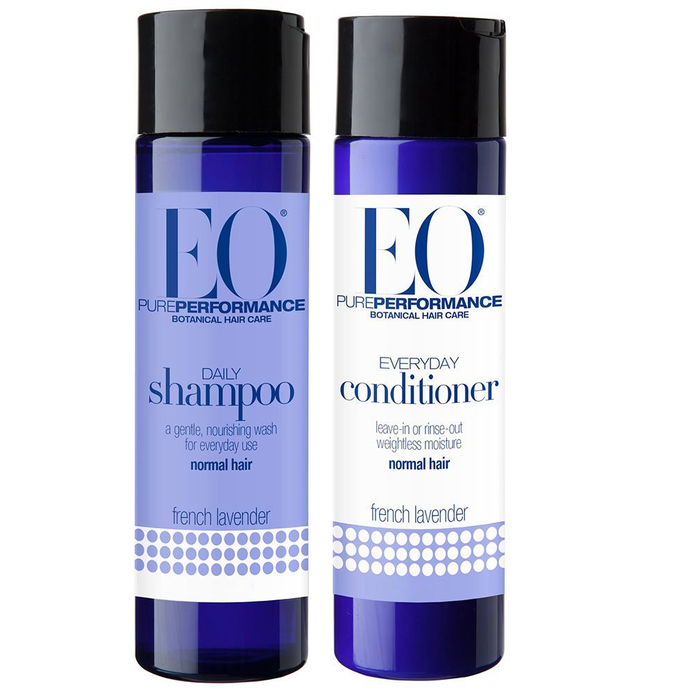 EO All Natural Organic Herbal Everyday Lavender Shampoo and Conditioner Bundle With Aloe Vera, Witch Hazel, Panthenol, Chamomile, Calendula, White Tea, Vitamin A & E For Normal to Dry Hair, 8.4 fl oz
