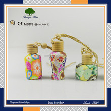 liquid Car air freshener flower printing hanging polymer clay empty perfume aroma diffuser bottle