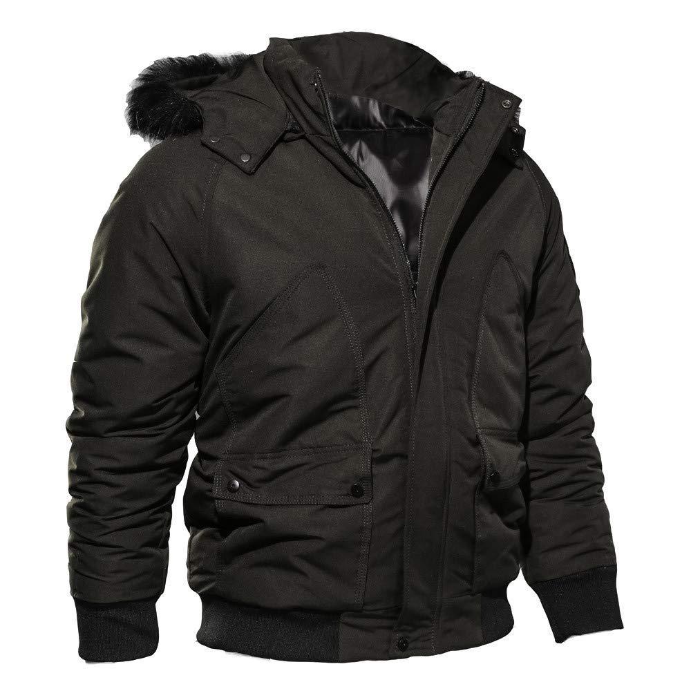 Mens Bomber Jacket,Winter Thickening Windbreaker Windpoof Jackets Pullover with Fux Hood Zulmaliu