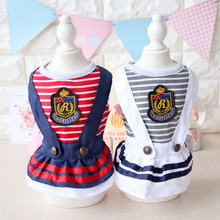Girl Dresses Fashion Sailor Stripes Dog Dress 2017 Spring New Dog Clothes Wholesale Dog Costumes Pets Supplies