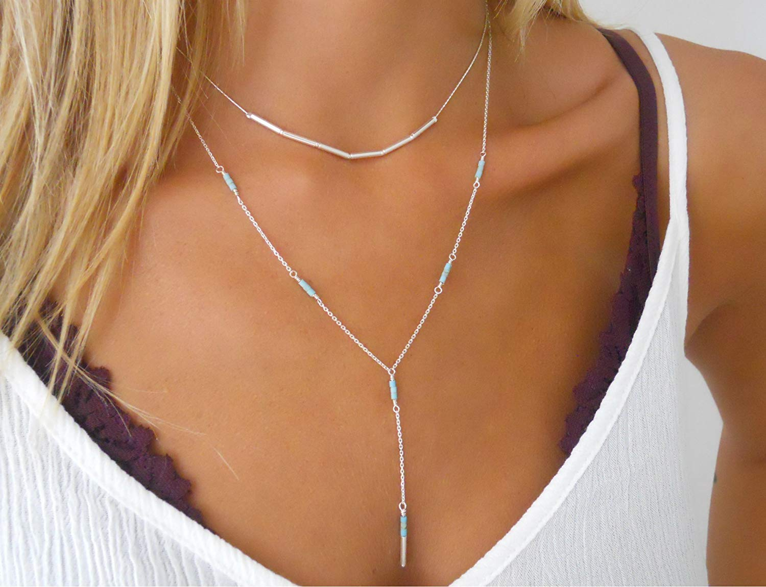 Handmade Designer Delicate Set Of 2 Silver Layered Necklaces - Silver Tube Beads Necklace & Silver Lariat Y Shape Necklace With Turquoise Beads