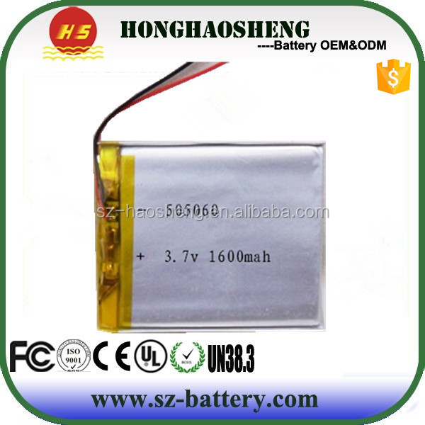 Supply 3.7V 1600mAh 505060 Li Ion Polymer Battery OEM with Protection Circuit