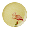 Food grade BPA free microwave dishwasher safe MESPL YFLAM melamine round flamingo print yellow dinner plate