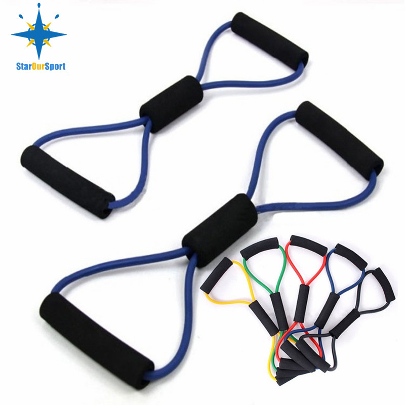 8 shaped Chest Developer Fitness Resistance Bands Exercise Tube expander for pulling sport tube equipment, Red yellow blue green black