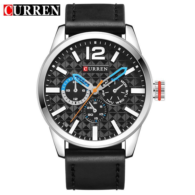 High Quality Brand Men Wristwatch Business Leather Strap Sports Big Dial Japan Movement Quartz Military Curren 8247 Luxury Watch