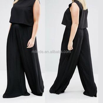 75c875db526 Plus Size Women Pants Chiffon Elastic Waist Womens Ruffle Pants Long Palazzo  Pants Solid Pleated Culottes