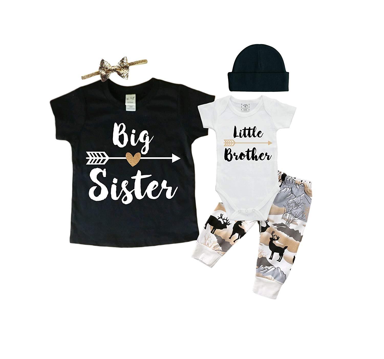 Big Sister/Little Brother Set. Matching Big Sister Little Brother Set 0-3Mo Bodysuit & 2T Shirt