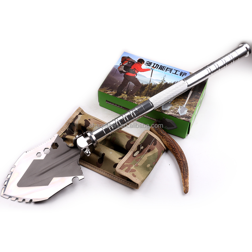 Portable Outdoor rescue multi tool folding army shovel with fire sticker and compass