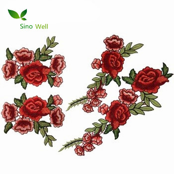 bd79bd5c4653 Clothing accessories polyester textile iron 3d rose flower patches custom  embroidery