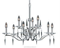 (C)UL & ETL modern clear crystal accents with brushed nickel finish ceiling pendant chandelier lighting