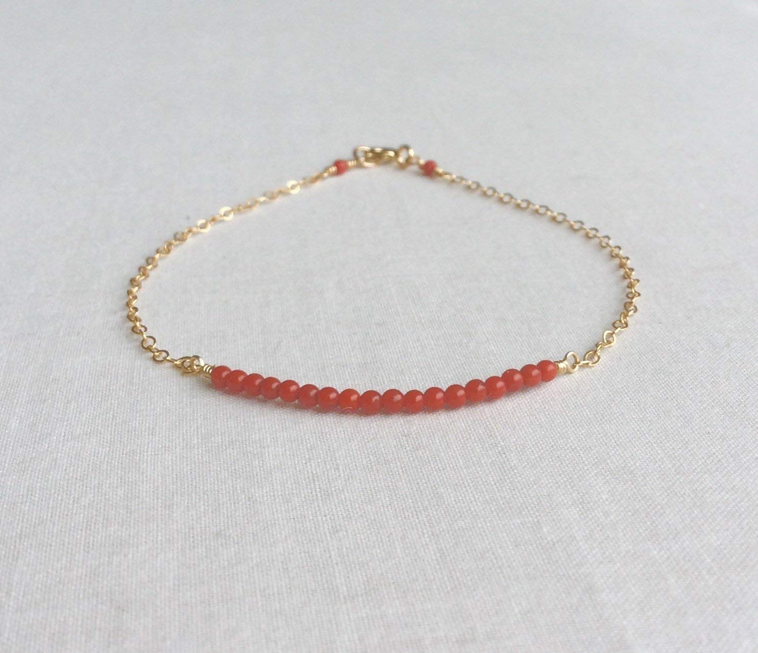 8eb2b6189cdc Get Quotations · Red Coral Bracelet in Gold Filled