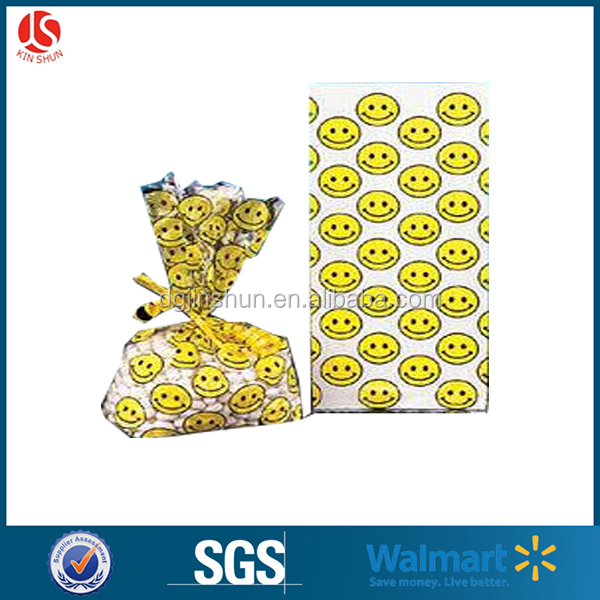 Smile Face Birthday Party Gift Bags clear cellophane candy bags 20 Count