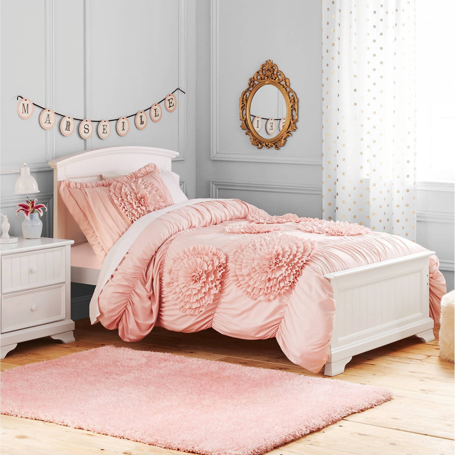 Buy 2 Piece Kids Blush Pink Luxury Ruffle Floral Pattern Comforter Twin Set Handcrafted Ruffled Light Pink Flowers Bedding Ruched Texture Design Boho Chic Hippie Indie Bohemian Style Plush Polyester In Cheap