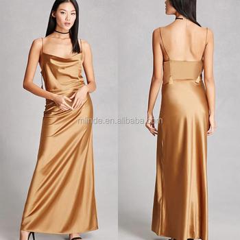 adfbbd7a5484 Hot Sale Lady Fashion Clothing Custom Cowl Neckline Spaghetti Strap Night  Satin Maxi Dress Style Shiny