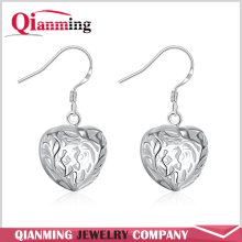 New Fashion Silver Ladies' Filigree Special,Fashion,Heart Pandant Droop Wire Earrings silver earrings