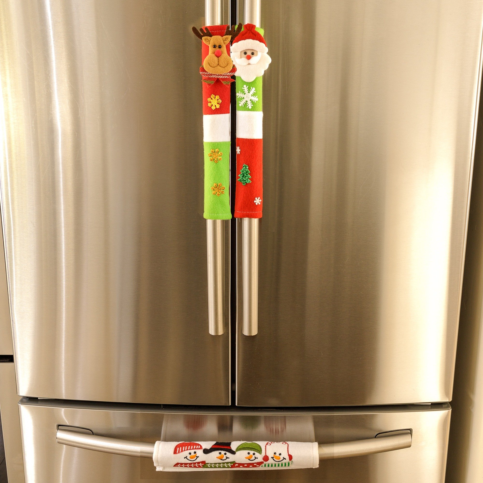 Christmas Handle Cover - 3 Count - Attach To Any Handle - Velcro Wrap - Easy To Attach/Remove - Santa, Reindeer, Snowmen, Xmas Tree, Snow Flake Designs - Fun Xmas With Christmas Decorations For Home