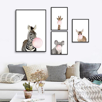 Modern simple cartoon animal children room decoration painting ...