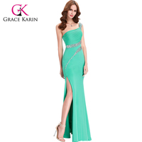 Grace Karin Sexy One Shoulder Sequins Stretchy Long Split Leg Formal Evening Dress Night Gowns CL6062-6#