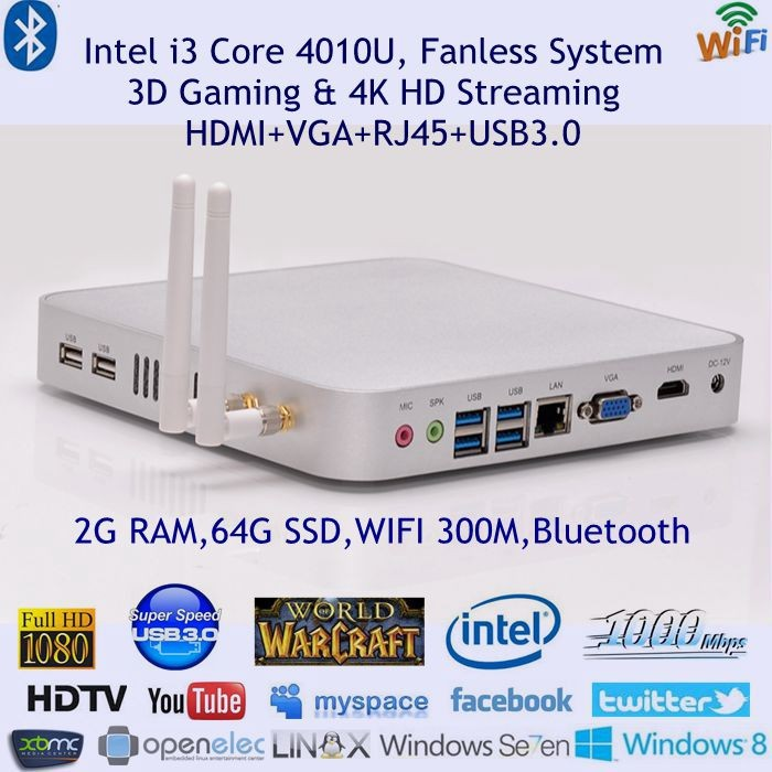 mini pc win10 core i3 with gigabit lan fanless haswell design 64bits computing quite bedroom htpc pocket size dual wifi 300m