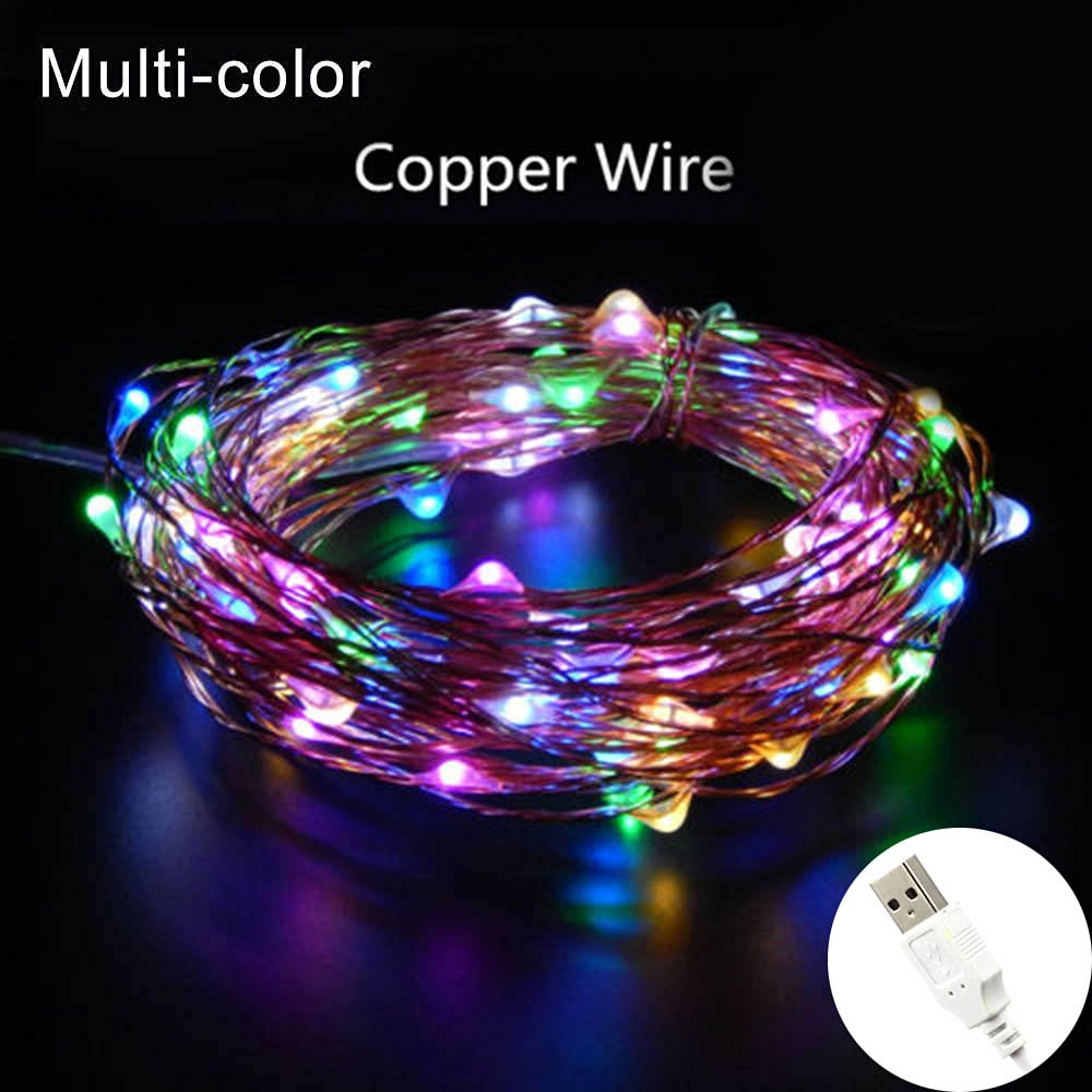 USB LED String Light,XFT-CK 33ft/10m 100 LEDs Light Christmas Copper String Lights For Christmas Wedding Halloween Party Decorations Fairy String Lights with USB Interface(Colorful)