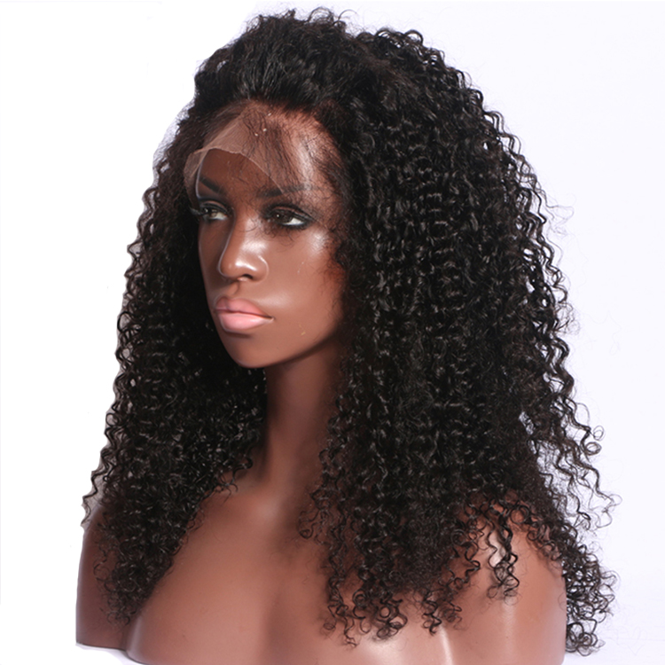 Wholesale 100% cuticle aligned Indian raw kinky curly hair lace front wig high density human hair wig