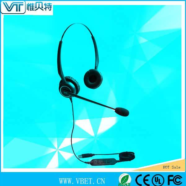 flexible mic with visual positioning guides noise cancelling call center headset USB type For noise office environment