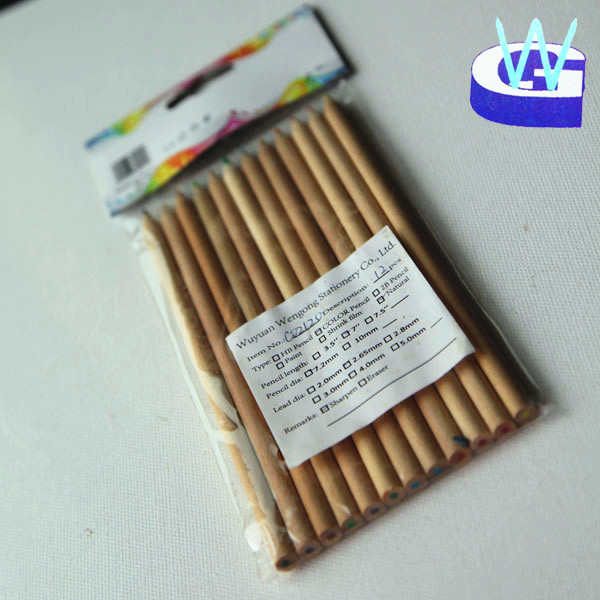 environmental conservation gift set12pcs natural wood color pencil set in opp bag