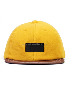 Wholesale 6 Panel 100% Cotton recycled yellow suede snapback hat cap with rubber patch leather brim