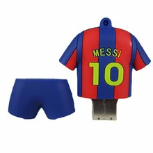 Promotional customize sports referee usb flash memory stick pvc shape soccer player USB flash drive for Messi